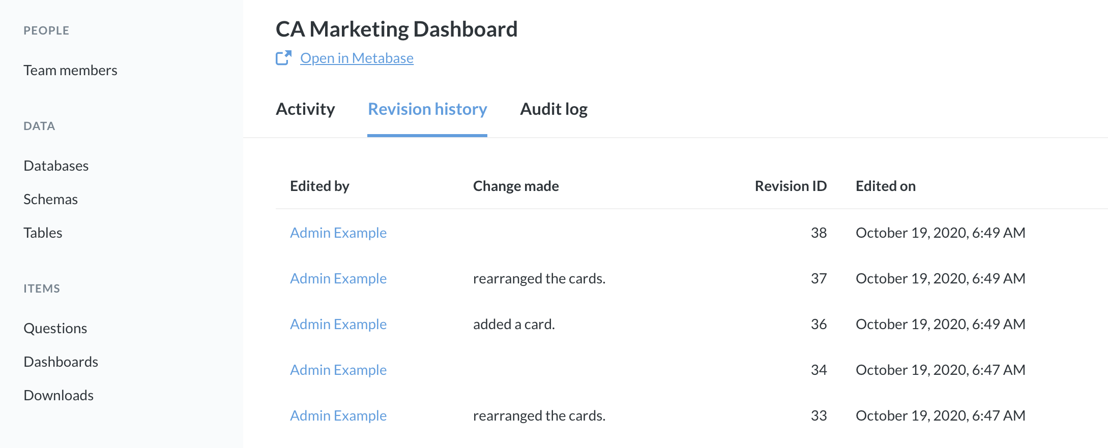 <em>Fig. 11.</em> The revision history for the CA Marketing Dashboard.