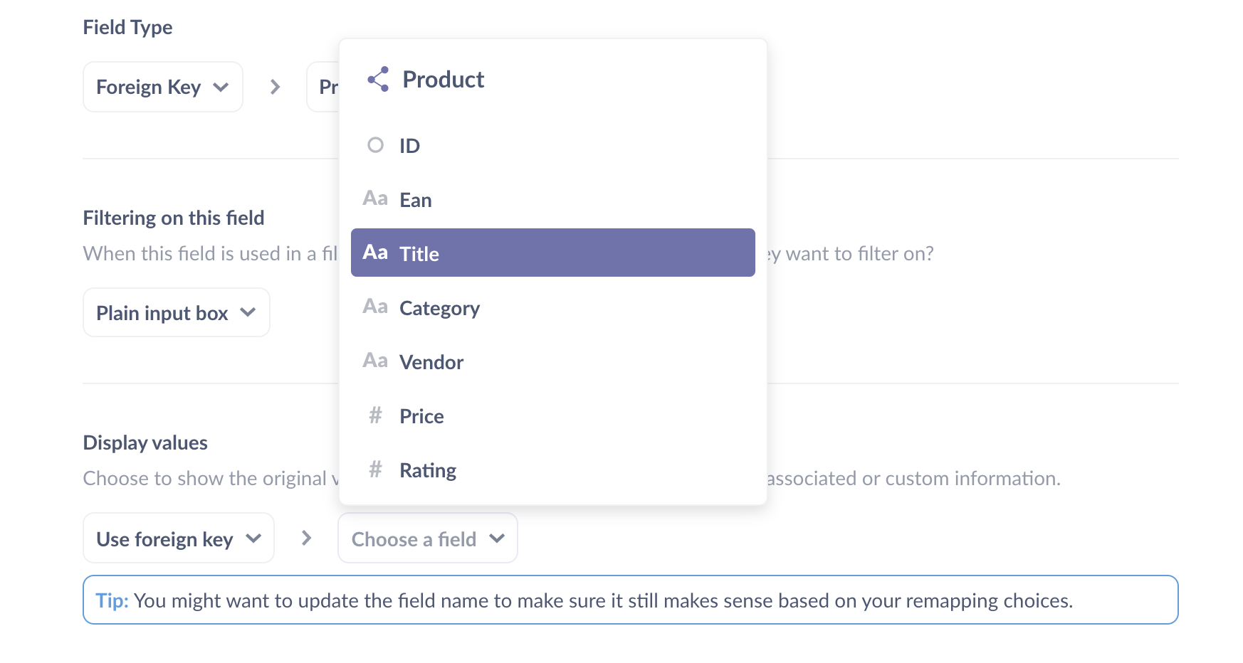<em>Fig. 13</em>. Setting Metabase to display the <strong>Product Title</strong> instead of the <strong>Product ID</strong> in the Orders table.